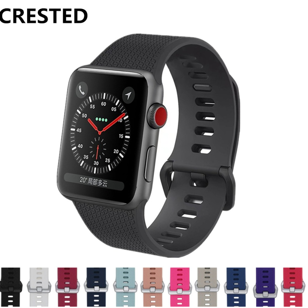 CRESTED Sport strap For Apple Watch band 42mm 38mm iWatch 3 2 1 silicone wrist bands Bracelet belt Classic Buckle watchbandCRESTED Sport strap For Apple Watch band 42mm 38mm iWatch 3 2 1 silicone wrist bands Bracelet belt Classic Buckle watchband