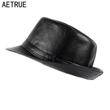 2d8820cc421 AETRUE Men Fedoras Hat Women Felt Leather Hats Men Panama Caps Gorros PU  Plain Church Boater Brim Fashion Fedoras Winter Hats