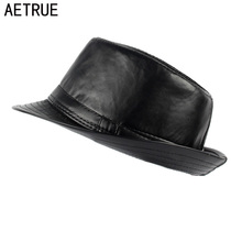 AETRUE Men Fedoras Hat Women Felt Leather Hats Men
