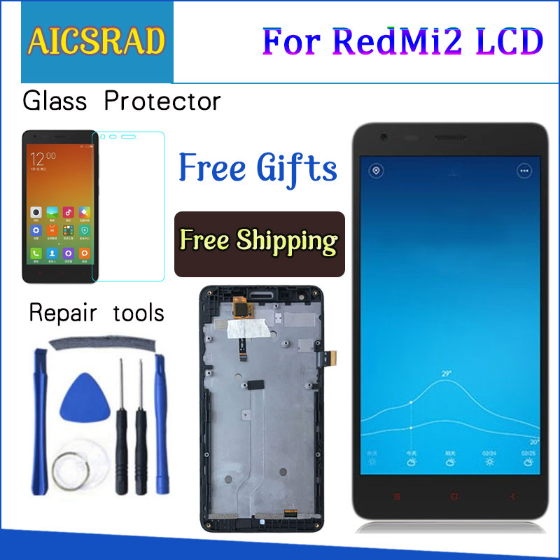 AICSRAD Black LCD+TP+Frame for Xiaomi Redmi2 Redmi 2 LCD Display+ Touch Screen Digitizer Assembly+Frame For Red Rice 2AICSRAD Black LCD+TP+Frame for Xiaomi Redmi2 Redmi 2 LCD Display+ Touch Screen Digitizer Assembly+Frame For Red Rice 2