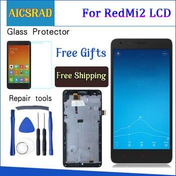 Aicsrad Hitam LCD + TP + Frame untuk Xiaomi Redmi2 Redmi 2 LCD Display + Rakitan Digitizer Layar Sentuh + bingkai untuk Beras Merah 2