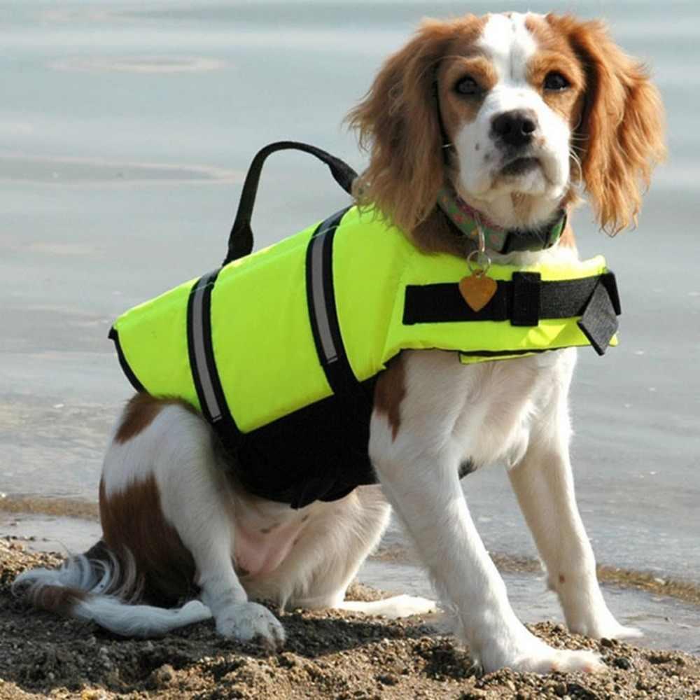 חיות מחמד כלב חיים Jacket בטיחות חיים אפוד רתם שומר חיות מחמד כלב בריכה שומרה בגדי קיץ בגדי ים