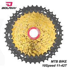 BOLANY 10 Speed Cassette Freewheel 11-42T Black gold Durable MTB Mountain Bike Cassette Sprocket Bicycle Flywheel For Shimano shimano slx cs m7000 11s speed 11 42t cassette freewheel for mtb bicycle part