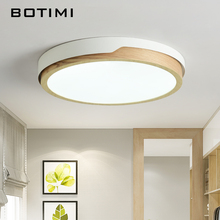BOTIMI LED Round Ceiling Lights Nordic Style Mounted Lamp For Bedroom Dining Living Room Wooden Kitchen Lighting Fixture