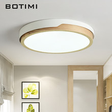 BOTIMI LED Round Ceiling Lights Nordic Style Ceiling Mounted Lamp For Bedroom Dining Living Room Wooden Kitchen Lighting Fixture(China)