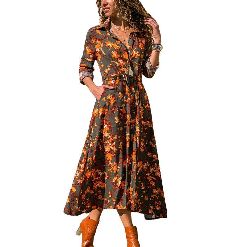 Floral Print Dress For Women 2018 Elegant Long Sleeve Shirt Dress Autumn Boho Beach Midi Dress Ladies Party Dresses Plus Size