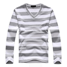 2017 NEW Fashion Men's Gray-White Stripe Long-sleeved Cotton Stripes Sweater Pullover T-shirt