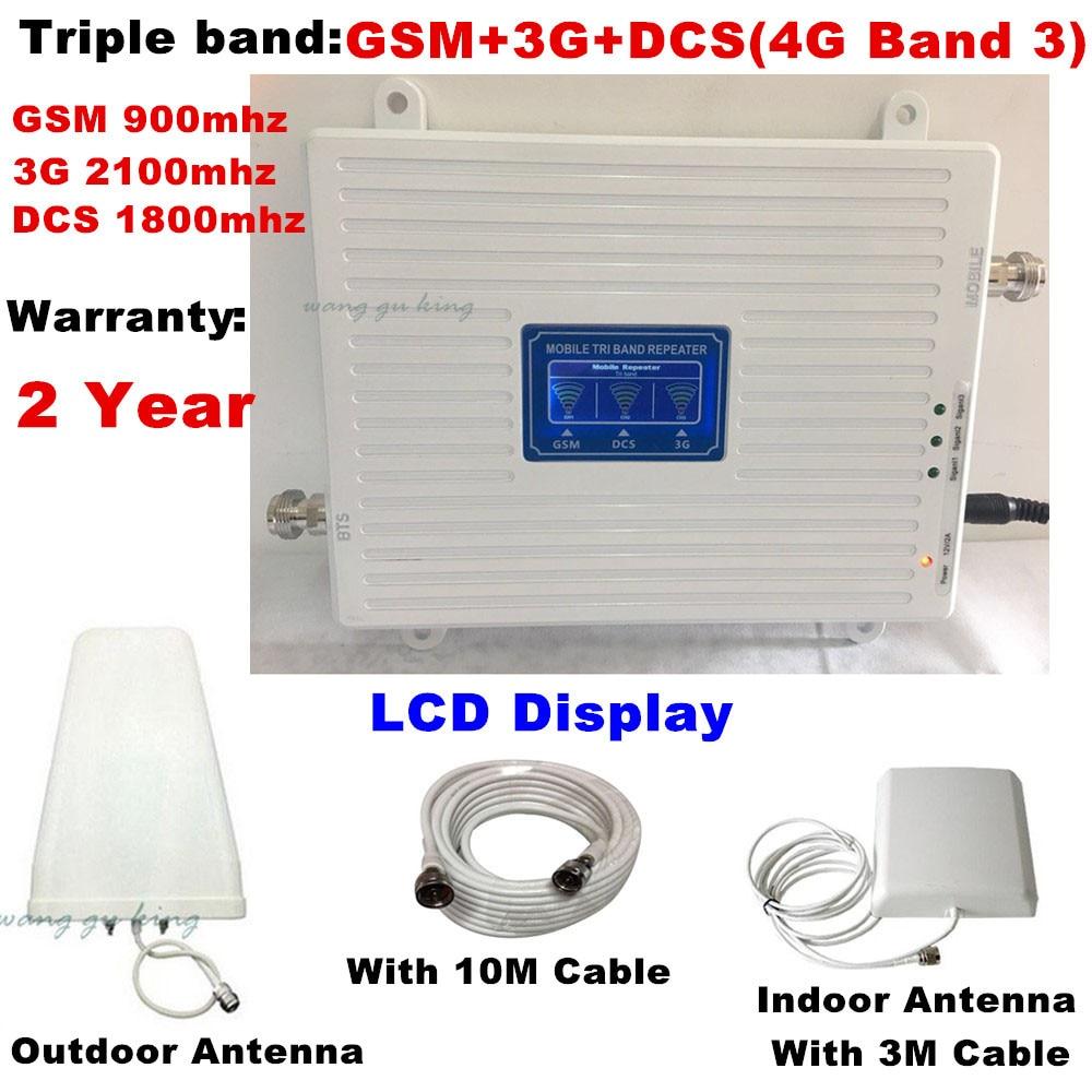 Ensemble complet 70dB 2g 3g 4g Tri-Bande Mobile Signal Booster GSM 900 DCS LTE 1800 WCDMA 2100 mhz Téléphone portable Répéteur de Signal Amplificateur