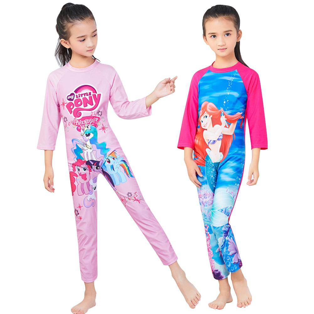 Fashion Cartoon Unicorn Printed Muslim Style Girl Long-sleeved Swimsuit Full Cover Sunscreen One-piece Swimwear Swimming Suit