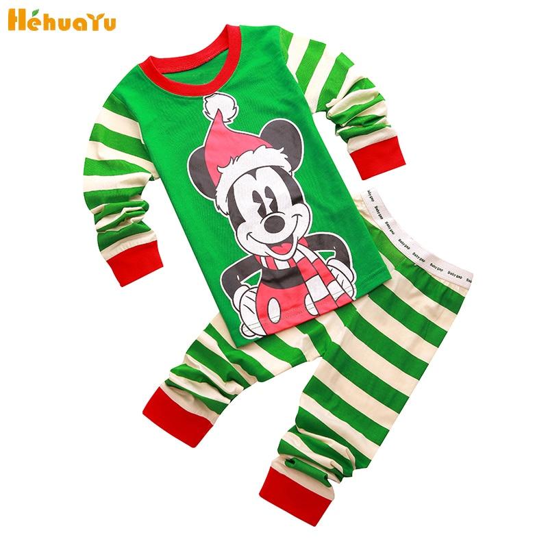 Fashion Mickey Cozy New Christmas Children Girl Boy Pajamas Cartoon Cute Clothing Set Cartoon Long Sleeve+Green Pants Sport Suit