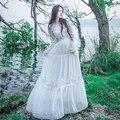 2017 Brand New Boho Floral Dresses For Women High Waist Big Swing Sundresses White Embroidery Long Vestidos fairy dress B4468
