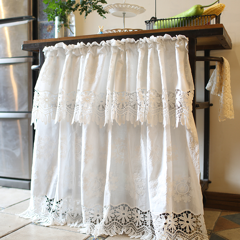 1pcs pastoral embroidered double layer flora cotton hollow