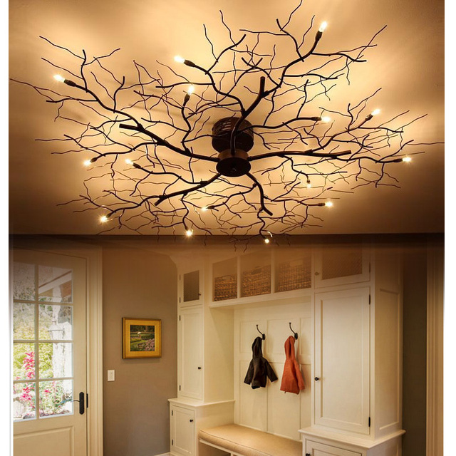 American 9/15 LED Ceiling Lamp Bedroom Wrought Iron Nordic Led Branch  Ceiling Light Dining
