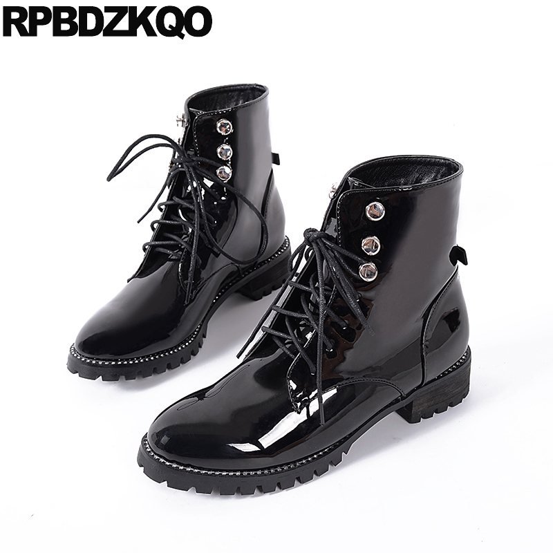 Rivet Black Metal Autumn Booties Front Lace Up Casual Ankle Boots Ladies Shoes 2017 Military Round Toe Fashion Female Short suede british chelsea platform booties shoes fall ankle thick round toe chunky brown front lace up casual boots autumn fashion