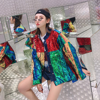 2019 New Autumn Jacket Women Denim Cool Coat Bomber Denim Jacket Women High Quality Fashion Sequined Loose Jacket Coat Outwear