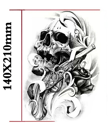 gun amp skull waterproof body arm leg art tattoo sticker