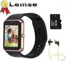 [Mejor vendedor] GT08 Bluetooth Reloj Inteligente usable dispositivos de Apoyo TF Tarjeta SIM Smartwatch Para apple Android OS teléfono pk dz09 f69