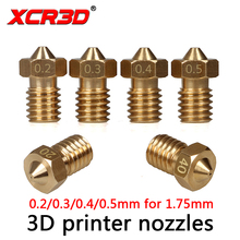 Free Shipping XCR3D High Precision Brass Nozzle 0.2/0.3/0.4/0.5mm for V5 V6 j-hend hotend 1.75mm Reprap i3 3D Printer Parts 4pcs