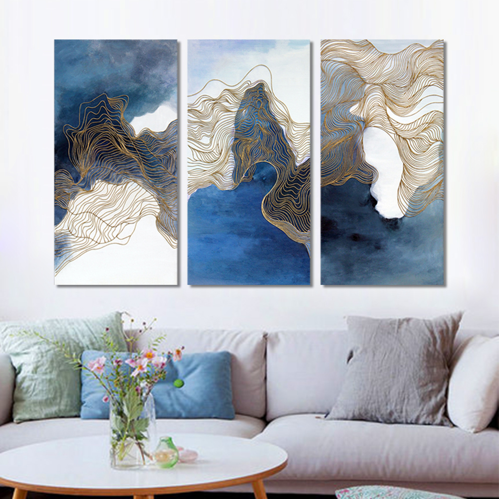 Unframed HD Canvas Prints Creative Art Painting Abstract Line Decorative Painting Dog And Rabbit Printed For Living Room Mural