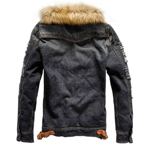 Image 3 - Winter Influx of Men Casual Denim Jacket Winter Thick Denim Jacket Retro Jacket Nagymaros Collar Cashmere Coat 4XL Direct Sales
