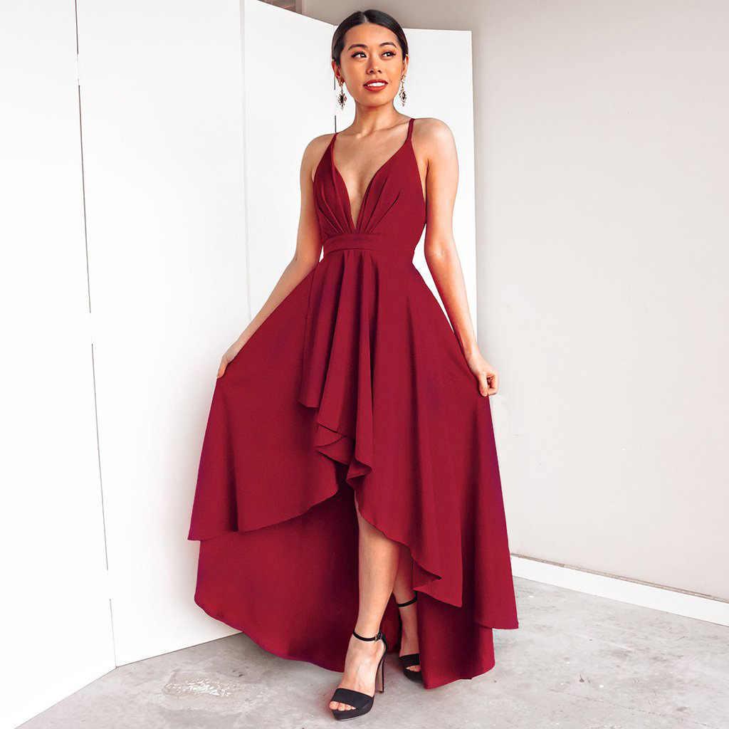 2146ae113 2018 rojo oscuro dama boho maxi club vestido rojo Marsala vestido Sexy mujer  de bola vestido