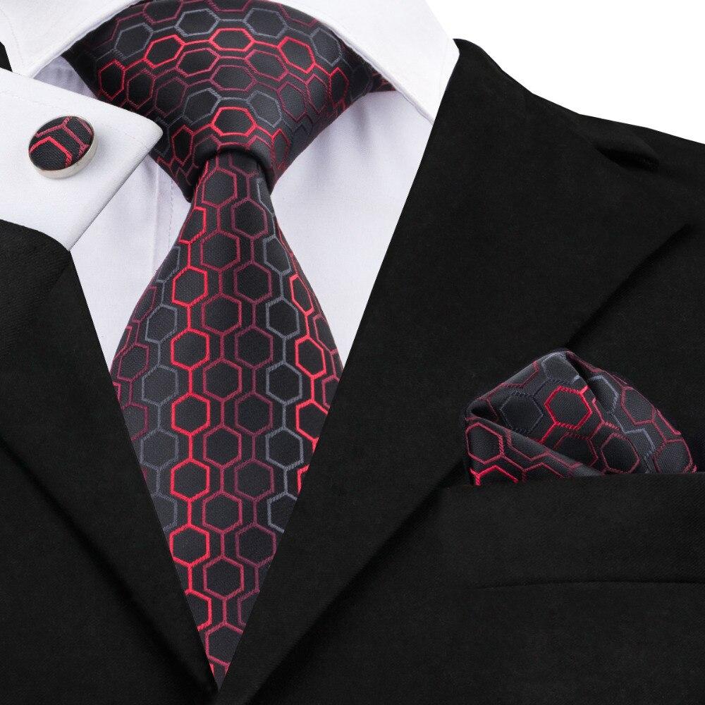 C-584 noir Dimgray rouge géométrique imprimé cravates pour hommes 2017 nouveau Designer Social Mariage Business Party homme cou cravates ensembles