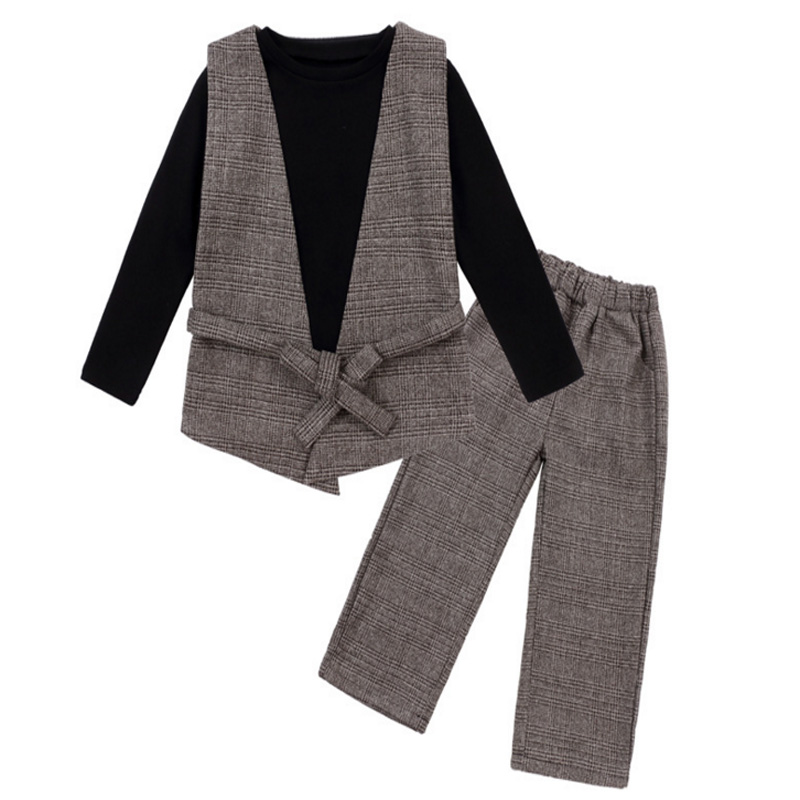 3Piece Suit Girl Spring Baby Girl Clothing Set Infant Outfits Set Bebes Kids Girl Clothes 2018 Long Sleeve Tops+Vest+Plaid Pants new 2018 spring fashion baby boy clothes gentleman suit short sleeve stitching plaid vest and tie t shirt pants clothing set