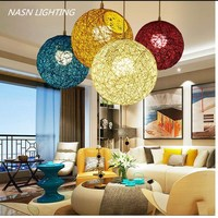 ark light Wicker Sepa Takraw Cane Pendant Lamps lights Colorful Cane Shade dinning Room Sitting Room kitchen restaurant lights
