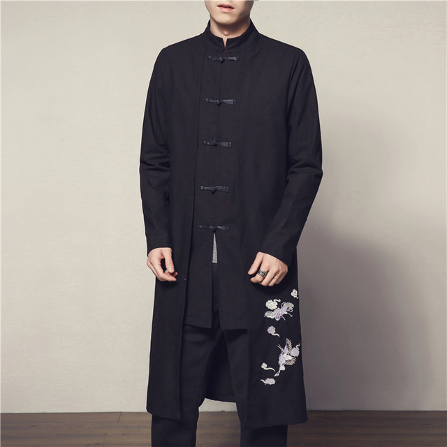 2018 Winter & Autumn Chinese Style Mens Long 4XL 5XL Sleeves Jackets  Fashion Slim Men Coats