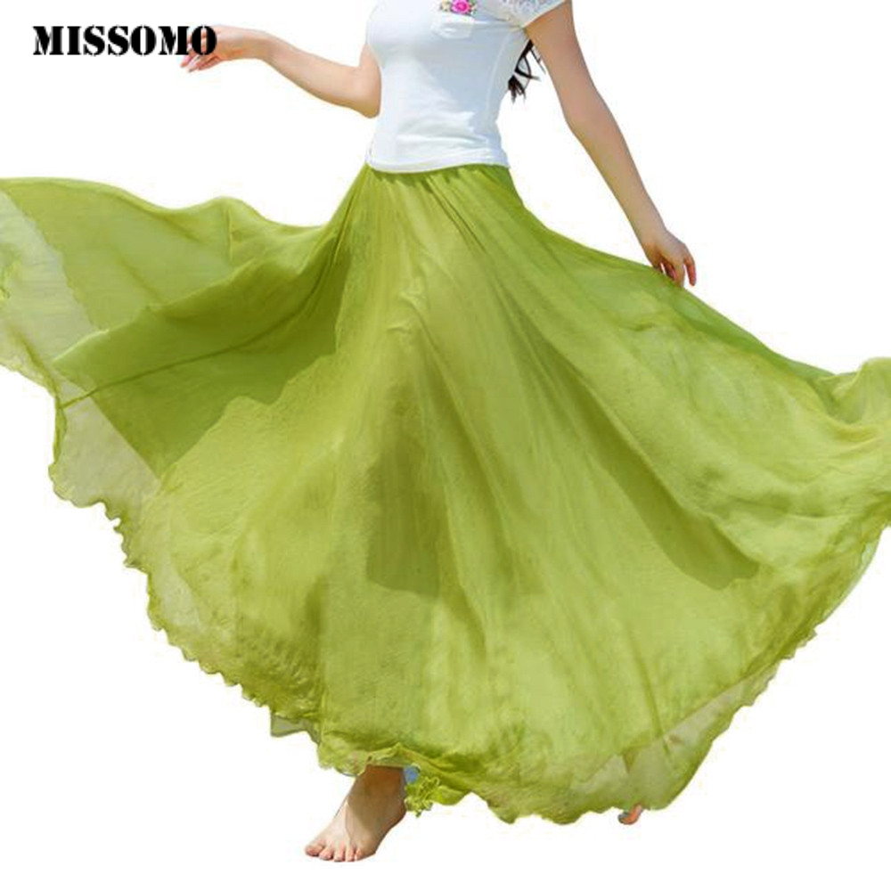 MISSOMO Clothes Women Beach Skirt Women Elastic High Waist Chiffon Long Bohemian Pleated Maxi Skirt Women Long Skirt Dropship
