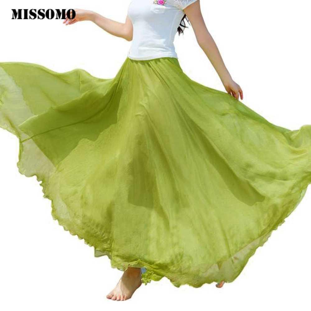 MISSOMO בגדי נשים חוף חצאית נשים אלסטיות גבוהה מותן שיפון ארוך בוהמי קפלים מקסי חצאית נשים ארוך חצאית Dropship