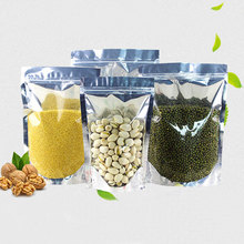 50pcs Stand up Clear Aluminium Foil Zip Lock Bag Silvery Metallic Plastic Packaging Pouch for Food Tea Candy Snack Storage Bags o ring zip up metallic skirt