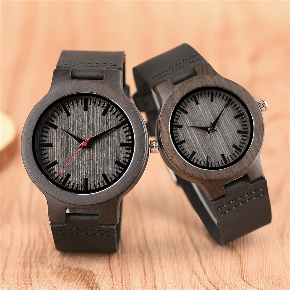 Simple Grey Dial Bamboo Wood Watch Men Genuine Leather Band Creative Women Watches Quartz Fashion Lovers' Couple Clock Gift