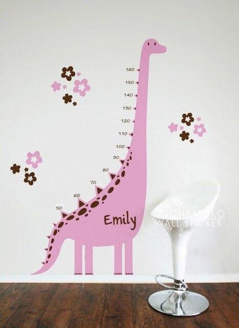 Custom Name Dinosaur Growth Charts Decals Wall Sticker Art Wallpaper For Kids Room Home Decoration 105cmX180cm