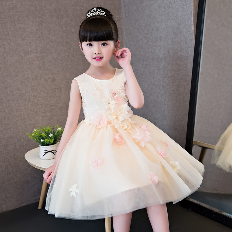 2017 Kids Girls Flowers Princess Dress Children Girl Sleeveless Birthday Wedding Party Lace Dress Baby Fancy Princess Clothes 2017 new high quality girls children white color princess dress kids baby birthday wedding party lace dress with bow knot design