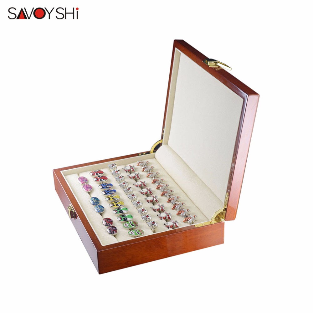 все цены на 20pairs Capacity Cufflinks box Luxury Jewelry ring Gift Boxes High Quality Painted Wooden Box Case 240*180*55mm SAVOYSHI brand