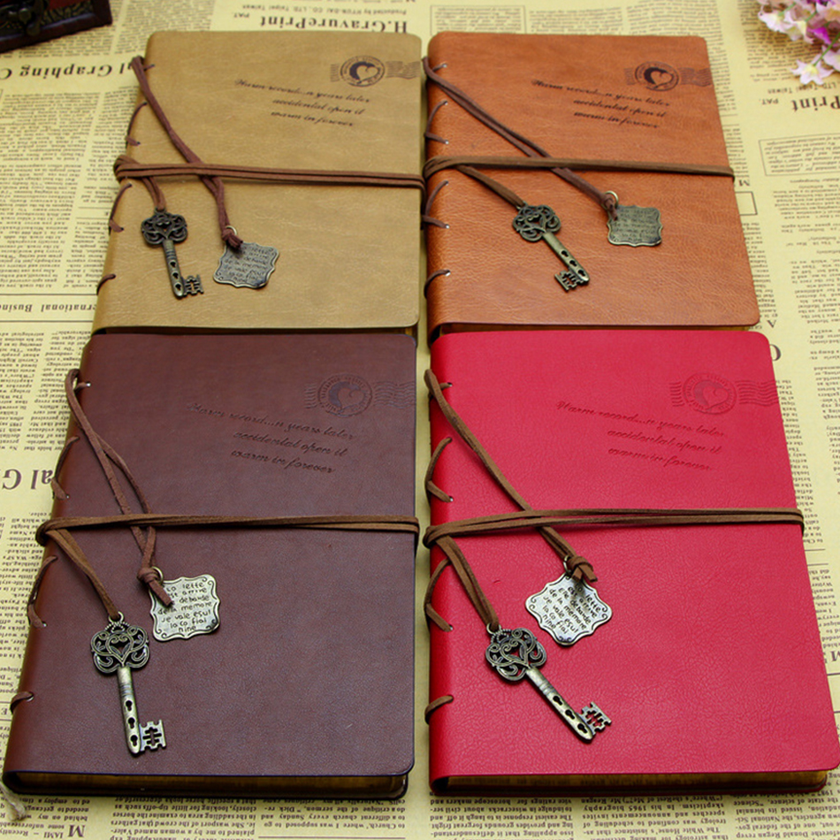 Vintage Book Cover Notebooks : Newest vintage magic key string retro leather note