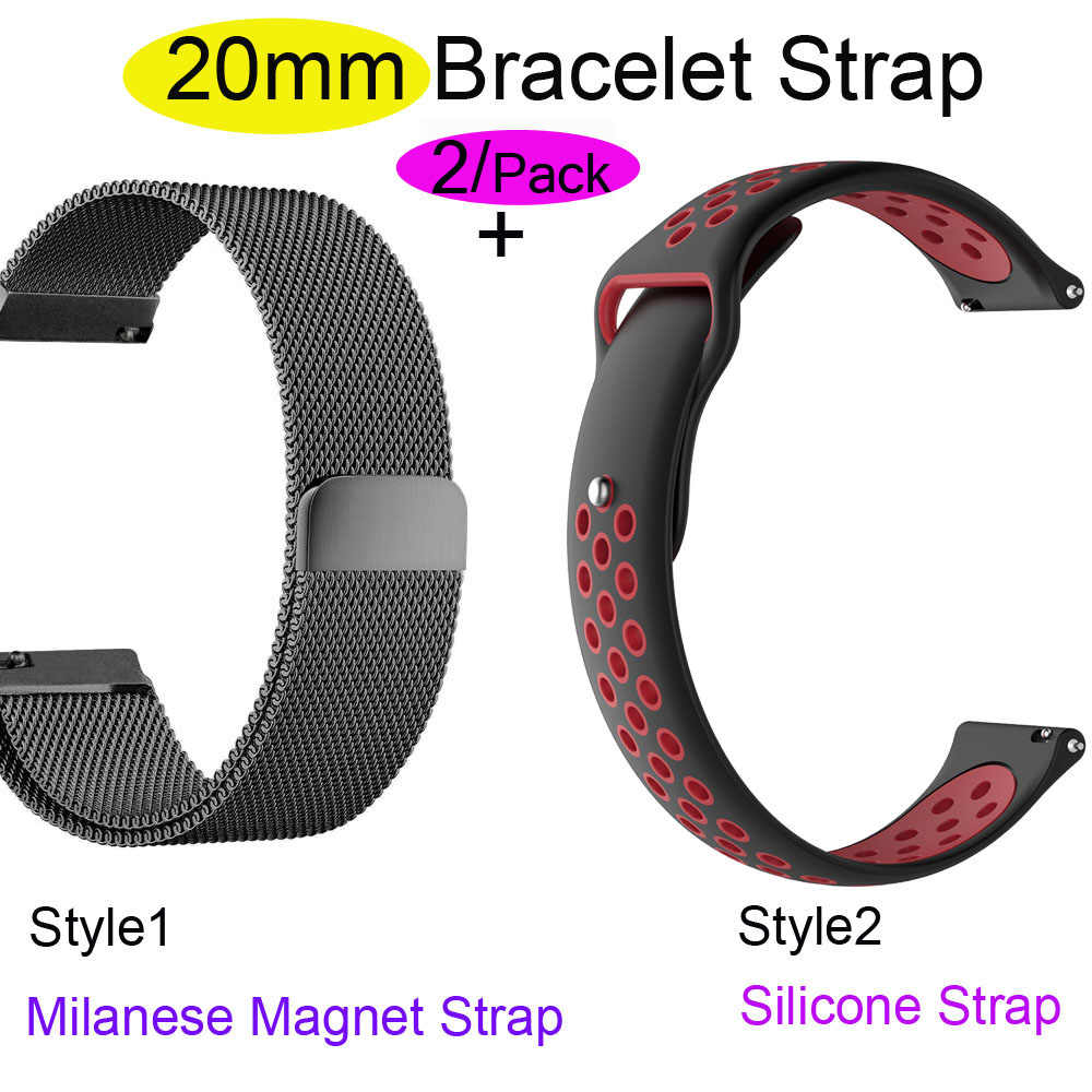 For Xiaomi Amazfit GTS Bracelet Watch Strap Amazfit Bip Watchband Amazfit GTR 42mm Milanese Stainless Steel 20mm Silicone Band