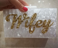 Name Letter Wifey Silver Gold Glitter Acrylic Wallet Brand Beach Lady Evening Party Wedding Handbags Box Clutches Purse Women