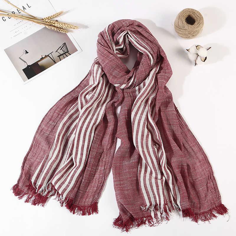 綿 100% スカーフ男性高品質ロングファッションブルーブラックカラーストライプスカーフ高級暖かい秋と冬のスカーフ男性スカーフ