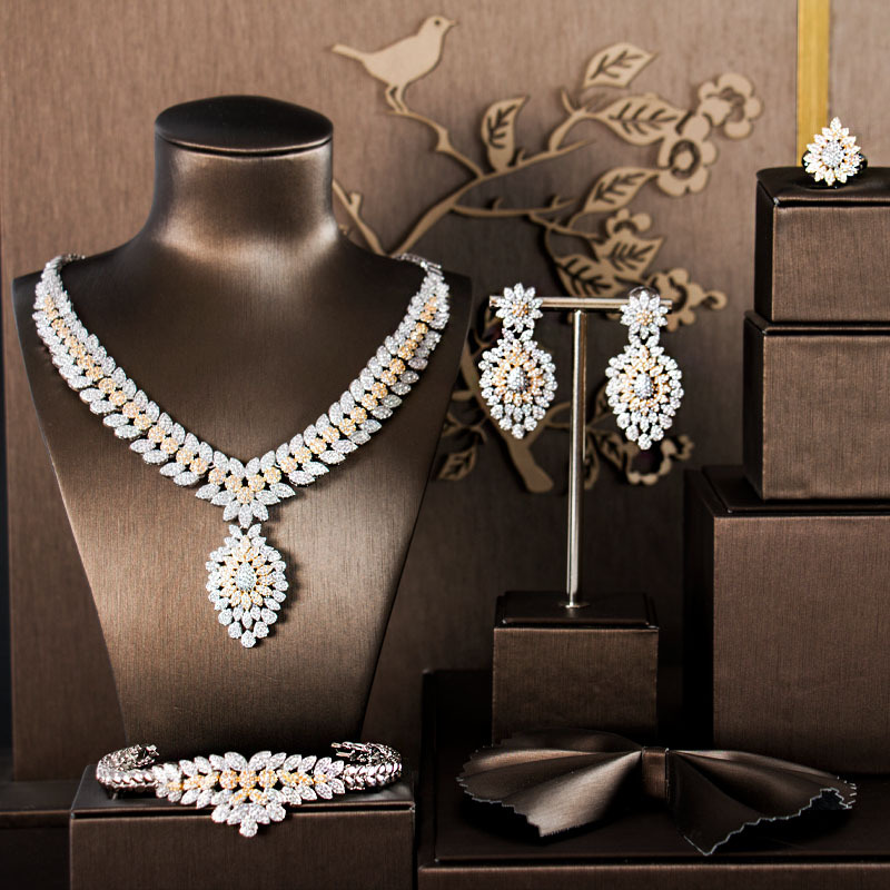 African 4pcs Bridal Jewelry Sets New Dubai Gold Jewelry Sets For Women Nigeria Wedding Party Accessories Design