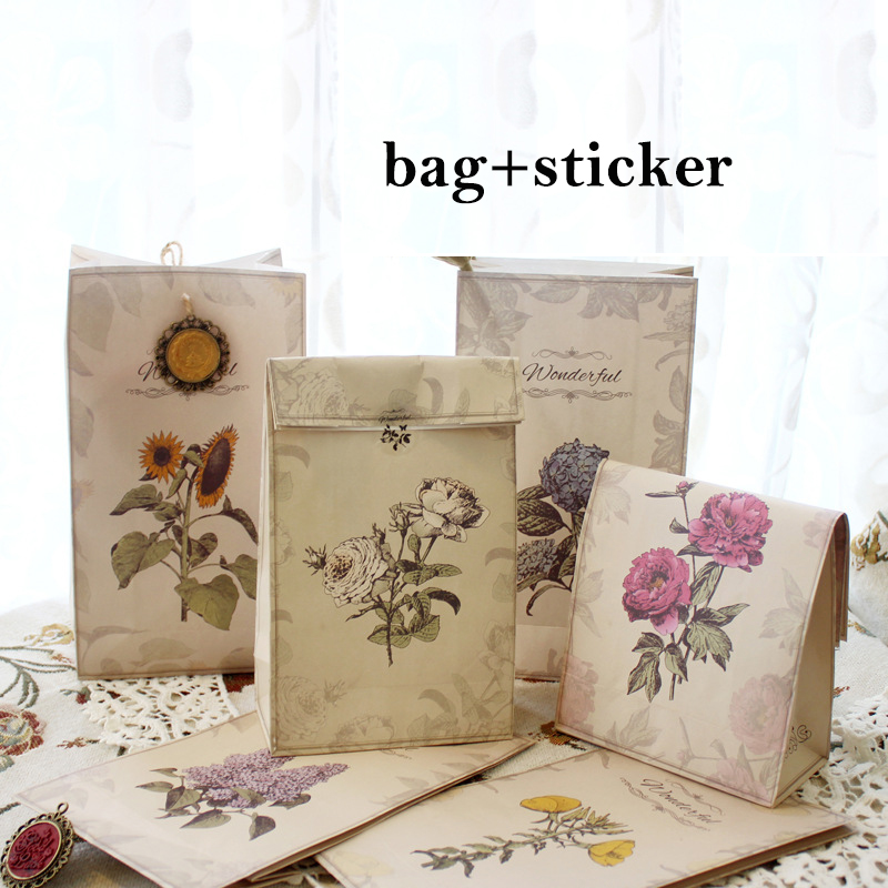 24 sets Retro style flower paper bag add sticker Gift Bags Party snacks candy PackagingGift Wrap Storage bag