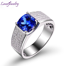 Luxury Solid 14K White Gold Tanzanite font b Diamond b font Wedding Rings Cushion Genuine Gem