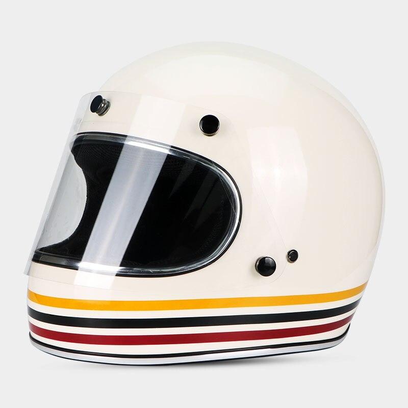 NEW Cafe Full Face Vintage JET Motorcycle Helmet Racing Motocross Motorbike Casco Capacete Retro Helmet Protective Gear DOT