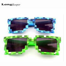 10pcs Hot Minecraft Style Kids Sunglasses Creeper Glasses Mosaic Sun Glasses Men Women Boys Children Pixel abstract Eyewares