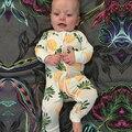 2017 Primavera Romper Do Bebê Longo-Manga Roupas Roupas das Crianças Do Bebê Da Menina do Menino Roupas de Algodão Semelhante Abacaxi Conjunto Corpo ternos