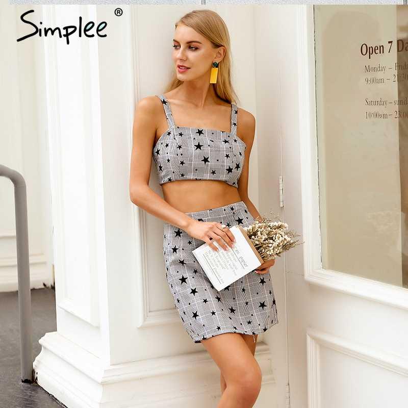 Женское летнее платье Simplee в клетку, с принтом звезд, повседневное серое короткое платье-двойка на бретельках, уличная одежда