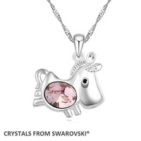 Cute Horse Pendant Necklace With Crystals From SWAROVSKI For Valentine S Day Gift