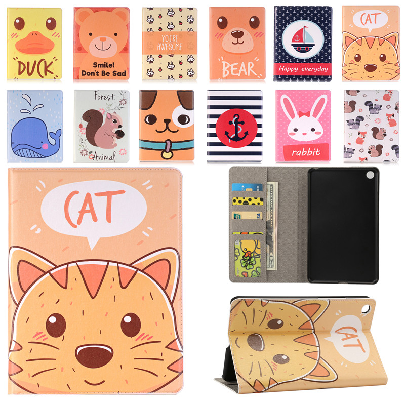 For Xiaomi MiPad 4 Cartoon Cat Case Cover Leather Smart Ultra Thin High Quality With Tablet PC+PU Holder for Xiaomi MI Pad4 ultra thin slim stand litchi grain pu leather skin case with keyboard station cover for lenovo ideapad miix 320 10 1 tablet pc