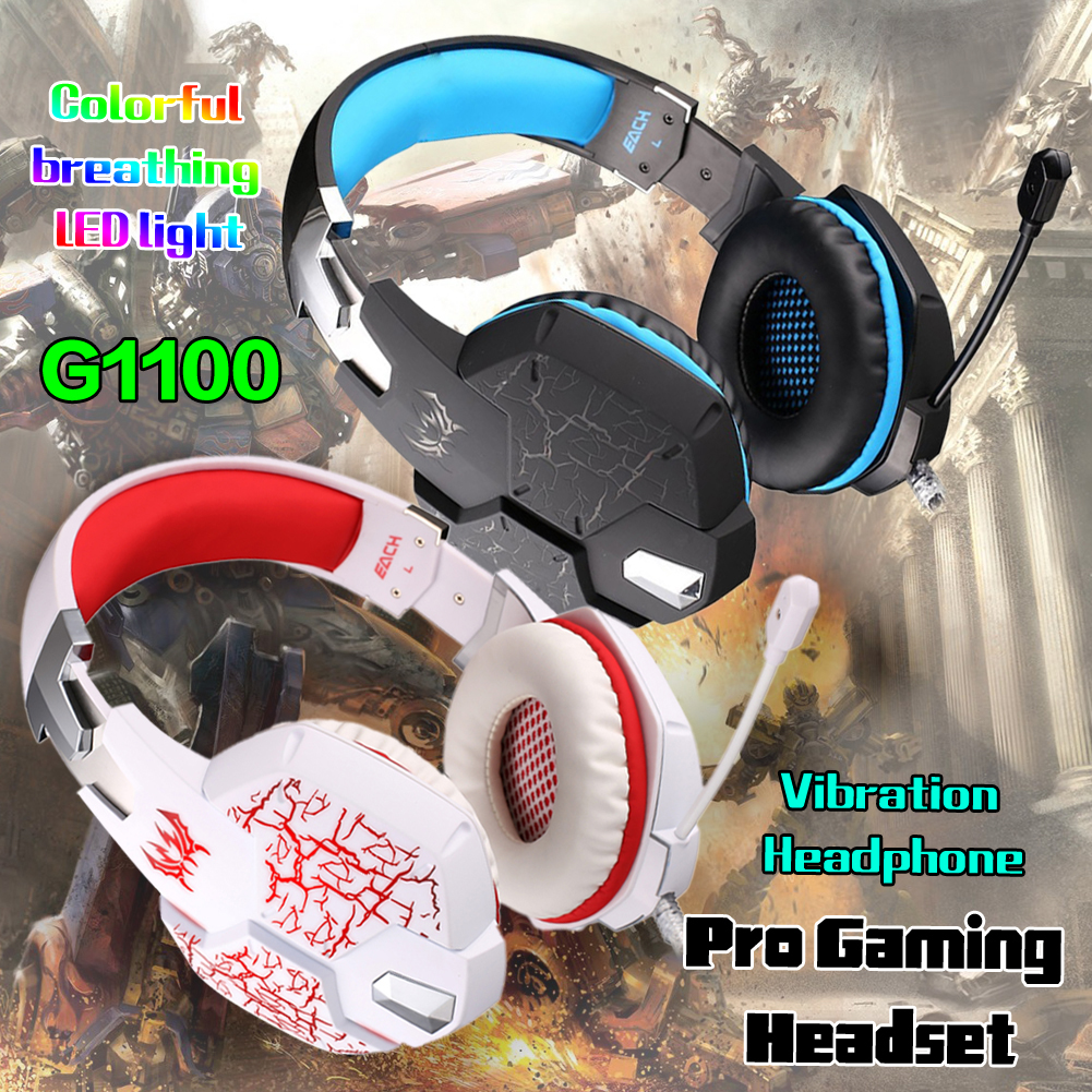 YCDC KOTION EACH G1100 Computer Stereo Gaming Headphones Deep Bass Game Earphone Headset LED+Mic Volume Control kotion each g 2000 game headphone gaming stereo headset wired headphones deep bass with mic led noise canceling for computer pc